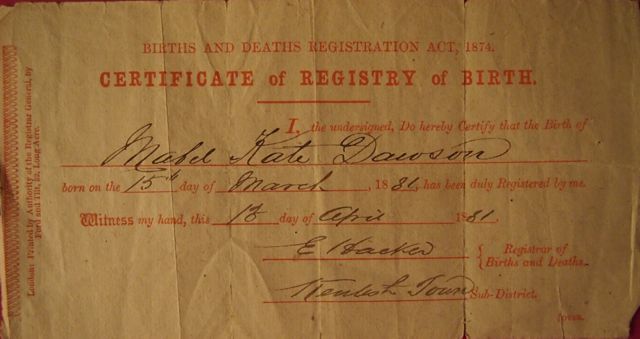 Mabel Kate Dawson Birth Certificate