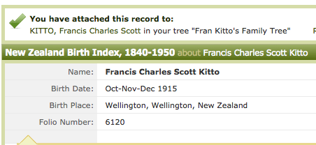Francis Charles Scott KITTO - Ancestry Results for NZ Births
