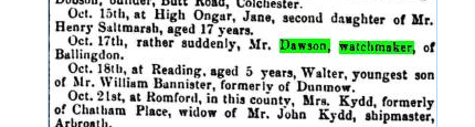 DAWSON  GROUT Marriage.Source: Births, Deaths, Marriages and Obituaries .  The Essex Standard, and General Advertiser for the Eastern Counties (Colchester, England), Friday, October 27, 1865; Issue 1819. 19th Century British Library Newspapers: Part II