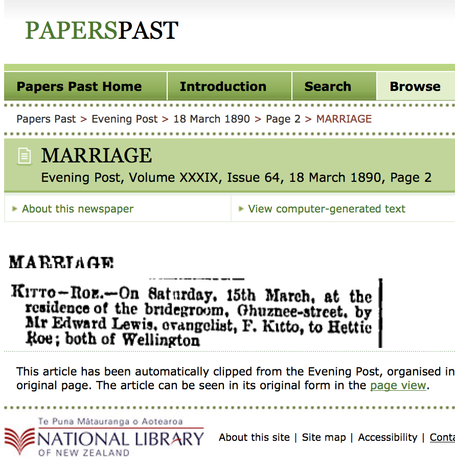 Paperspast Marriage notice for Family History Story