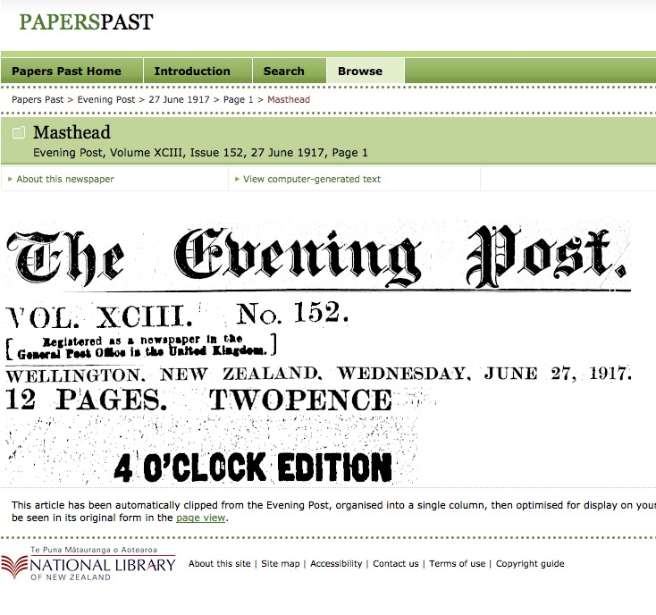 Evening Post, Volume XCIII, Issue 152, 27 June 1917