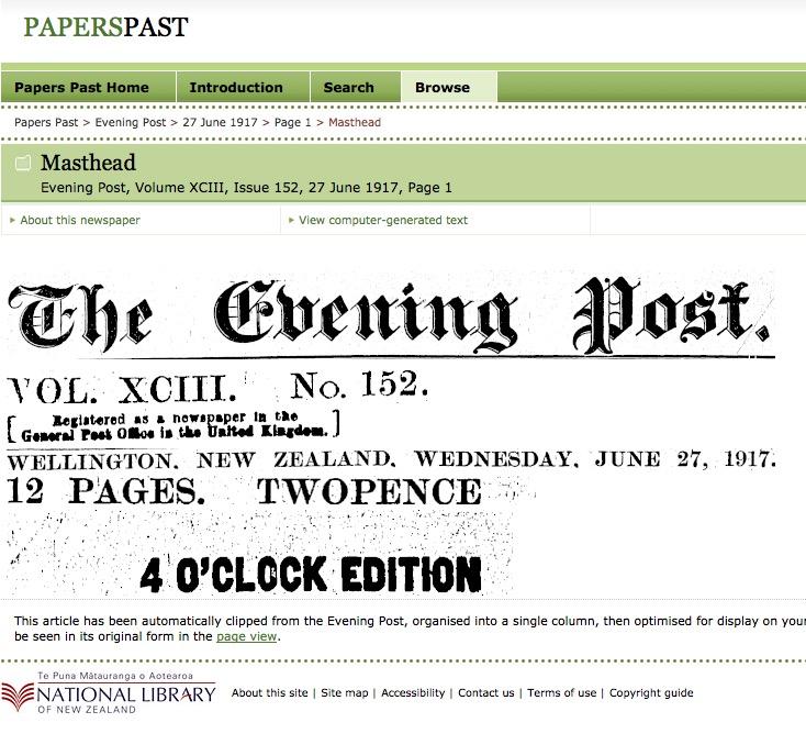 Evening Post, Volume XCIII, Issue 152, 27 June 1917