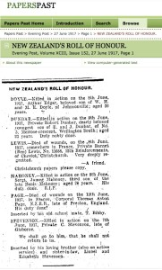 Online Newspaper - Evening Post, Roll of Honour, 27 June 1917
