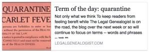 Term of the day: quarantine