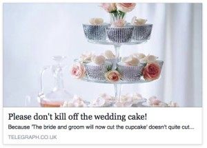 Please don't kill off the wedding cake!