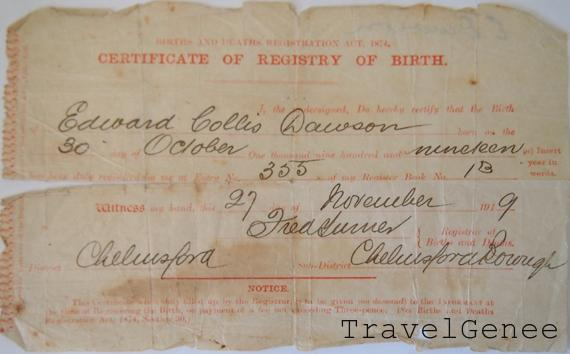 Edward Collis Dawson Birth Cert