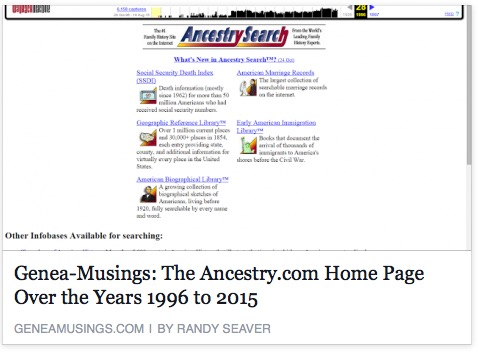 Randy Seaver shows Ancestry via the Wayback Machine
