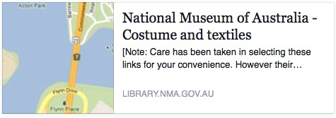 National Museum of Australia Links for Costume and textiles