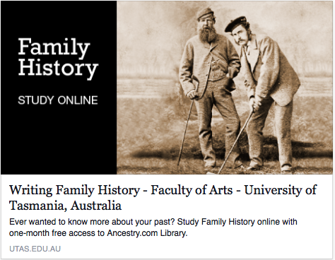Study Writing Family History at the Uni of Tasmania