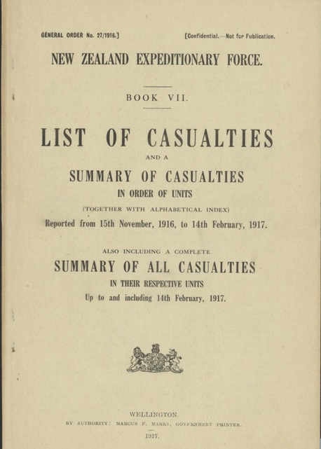 Trove: NZ WW1 Casualties Book
