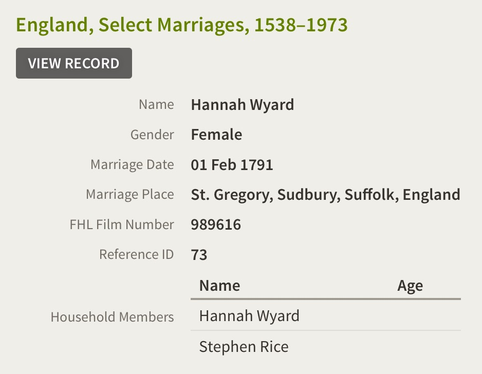 Hannah WYARD and Stephen RICE marriage - TravelGenee #atozchallenge W