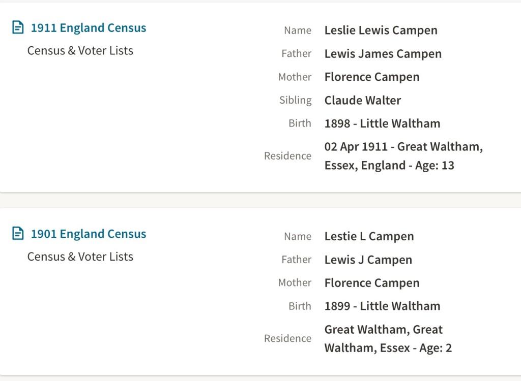 Leslie-Lewis-Campen-1901-census
