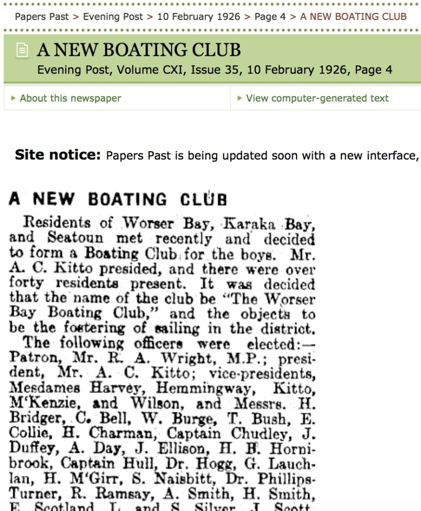 Worser Bay Boating Club started in 1926.