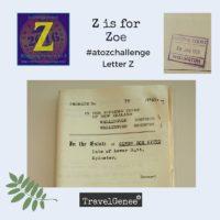 TravelGenee #atozchallenge Z for Zoe