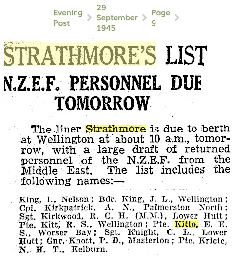 WW2 Kitto returns on Liner Strathmore