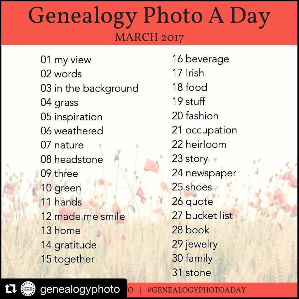GenealogyPhotoADay March 2017 Prompts