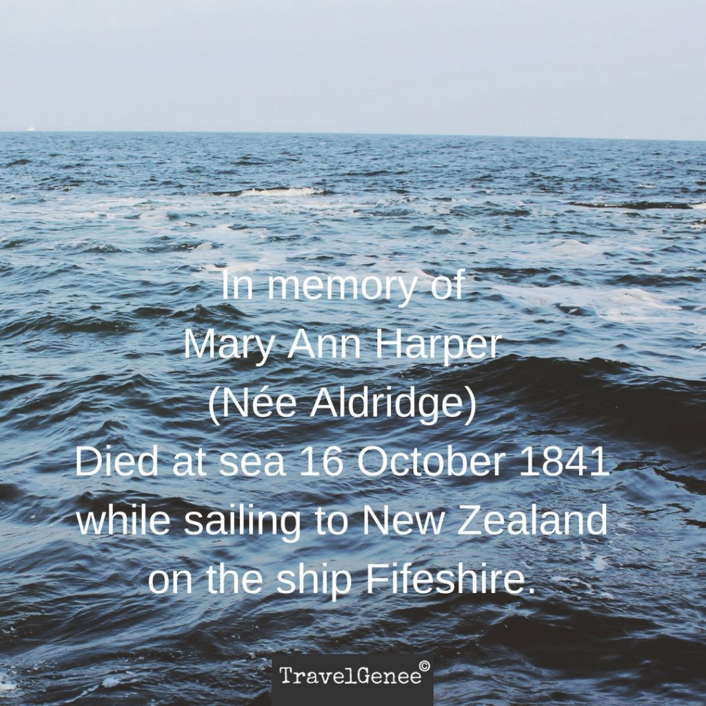 Mary Ann Harper: Died At Sea 16 October 1841