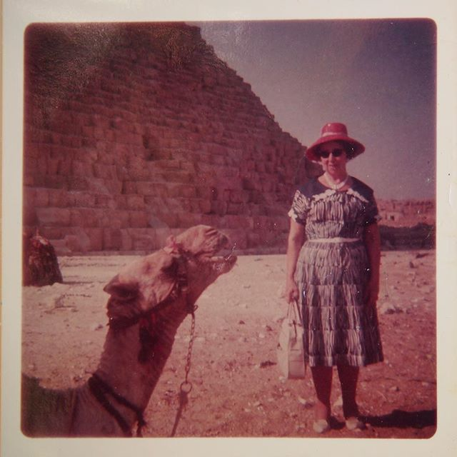 Nana poses with a camel in Egypt (Grace Shepherd)