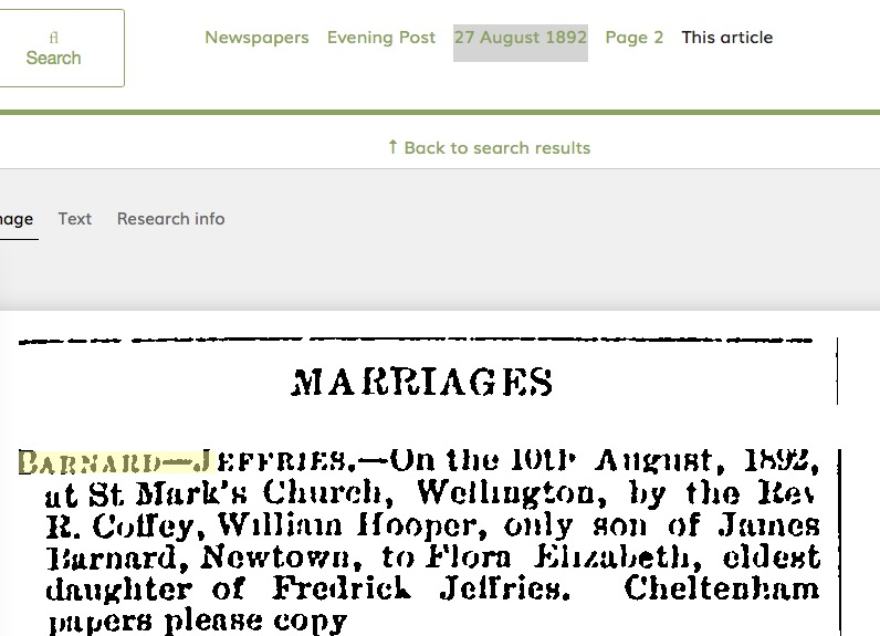 0528 Paperspast: Marriage WH Barnard & FE Jeffries in 1892