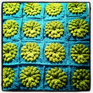 Crocheted Granny Squares Custion