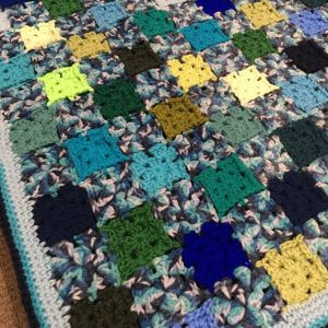 Blues and Greens Patchwork crochet