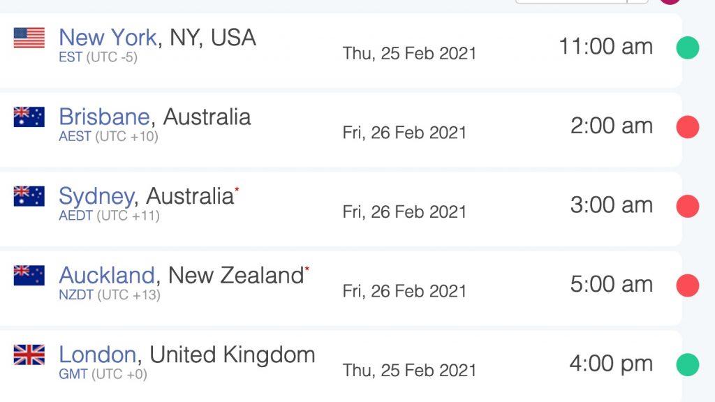10 am EST in New York is 2 am in Brisbane Australia