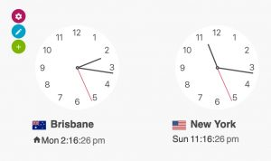 Time and date clocks around the world