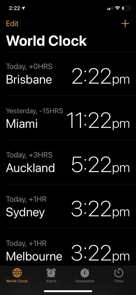 iPhone world clock